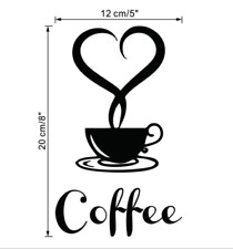 1PC Coffee Cups Cafe Tea Wall Stickers Art Vinyl Decal For Kitchen Home 12x20cm