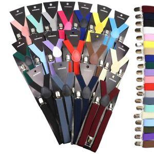 Solid Color Elastic Leather Suspender Braces Men Women Black Blue Red Adjustable