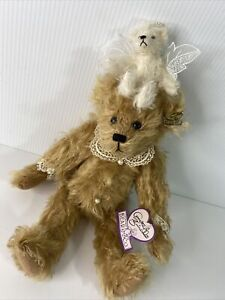 Annette Funicello Collectable Angel Bear Co Plush Bear Pearls Lace Jointed 13""