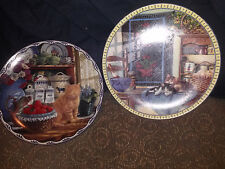 2 Beautiful Cat Plates By Bradford Exchange Mary Lasher & Knowles Hannah Ingmire
