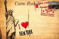 Postcard, Vintage Style I love NEW YORK, Statue of Liberty, USA, Travel 23i