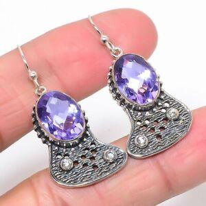 "Alexandrite Quartz & White Topaz Oxidize 925 Silver Earring Jewelry 1.58"" M1585"