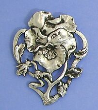 Art Nouveau style brooch design of a Pansy flower
