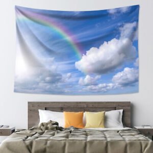 Tapestry Wall Hanging Blue Sky White Clouds Rainbow Sheet Bedspread Home Decor