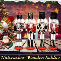 12''  Wooden Nutcracker Soldier Handcraft Walnut Puppet Toy Christmas Decor