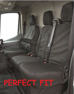 FORD TRANSIT VAN MK8 2016 + TIPPER TAILORED FITTED FRONT SEAT COVERS 2+1 BLACK