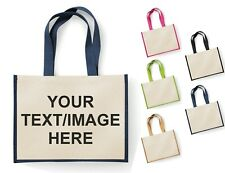 W452 Westford Mill Jute Base Cotton Canvas Tote Bag XL 29 Litre Size Ladies