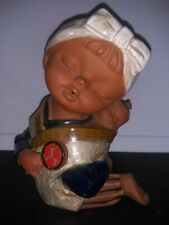 Seto Craft K.K Original Japanese Baby Onbuhimo Figurine in Red Clay Pottery