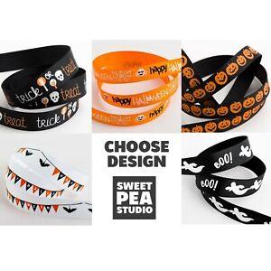 Halloween Grosgrain Ribbon - Choose Design 9mm or 16mm x 5m Roll - Pumpkin Boo!