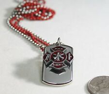 FIREFIGHTER MALTESE CROSS CHARM 3D SOLID STAINLESS DOG TAG NECKLACE STAINLESS