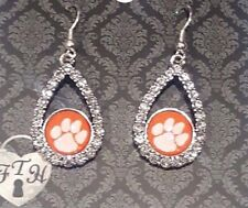 Clemson Tigers  COLLEGE EARRINGS - CRYSTAL TEAR W/ ROUND LOGO