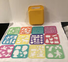 Vintage Tupperware Stencil Set of 12  Yellow Caddy Carry Case #1408 Holiday