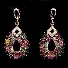 Große Ohrringe Turmalin & CZ 925 Silber 585 rosévergoldet