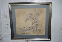 Antique Vintage Chinese Painting House Boat Winter on Silk Signed Marks Framed