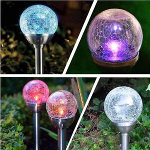 7 Colour Globe Solar Crackle Glass Ball Stake Light Garden Patio Stainless Steel