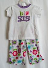 GIRLS 2T BIG SIS 2 PCS PAJAMA SET S/S SHIRT & FLOWER PANTS EUC ~ CARTER'S