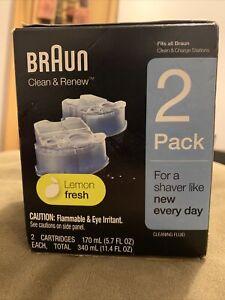 Braun Clean & Renew Refills Lemon Fresh 2 Cartridges Shaver Cleaning