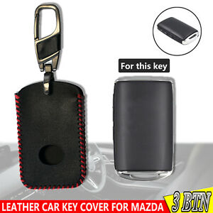 For Mazda 3 CX-5 3 Buttons Leather Black Car Key Cover Fob Remote Case 19-20