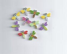 10Pcs Botones de Madera al azar Mezclado Libélula 2 agujeros scrapbooking coser (171)