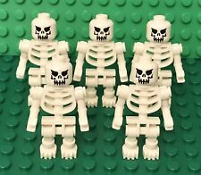 Lego X5 White Skeleton Mini Figure With Evil Skull Head Pattern / Halloween Lot