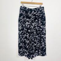 Veronika Maine Womens Wide Leg Pants Cropped Black White Floral Size 12