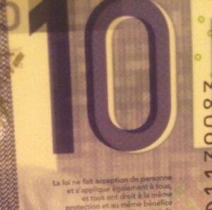 2018 Canada $10 BIll ALIGNMENT OFFSET ERROR