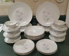 Vintage Royal Sovereign Fine China in Blush Rose - 30 pieces - 6 Place Settings