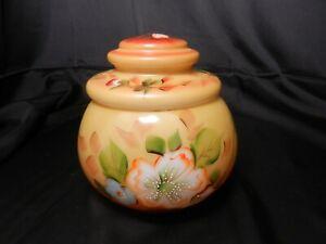 "LG Wright Golden Poppy Covered Jar Yellow Orange Blue Florals 6 1/2"" T ca 1970's"