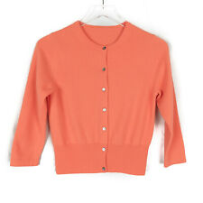 Pure Collection 100% Cashmere Peach 3/4 Sleeve Cardigan Sweater Size Small Read*