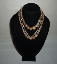 Vintage Multi Strand Faux Peal Glass Swirl Plastic Bead Fashion Necklace- FN0109