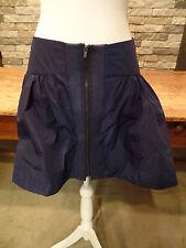 BCBGeneration Skirt Galaxy Blue Slick Taffeta Full Front Zip Mini Size 6 NWT $78
