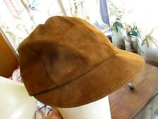 True Vtg 50s SUEDE LEATHER PATIAN Hat Newsboy Cabbie Cap SMALL