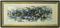 Excellent Mid Century Modernist Watercolor, Abstract City Scene Signed