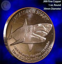 MEGALODON SHARK 1 oz pure copper coins art bullion 39 mm freshly minted 2019 bu
