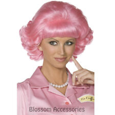 W363 Pink Frenchy Curly Wig Grease 50s Pink Ladies Wig Hair Fancy Dress Costume