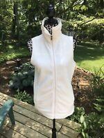 CHAPS Sport White Full Zip Fleece Vest Size Small NWT Women's Side Pockets