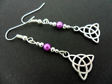 A PAIR OF TIBETAN SILVER PURPLE GLASS BEAD CELTIC KNOT EARRINGS. NEW.