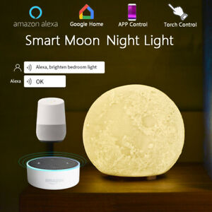 WiFi Smart Table Night Lamp Moon Touch Bedside Lamp Works with Alexa Google Home