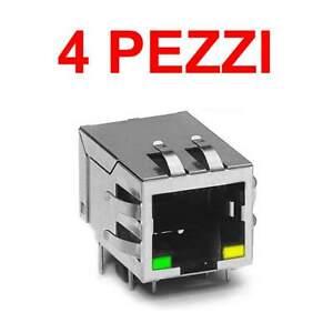 4 pezzi Connettore Ethernet RJ45 + 2 LED PCB plug circuito stampato 8P8C THT