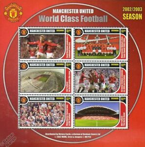 MANCHESTER UNITED Old Trafford World Class Football Club 2002-2003 Stamp Sheet