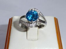 Topaz Anniversary Solitaire with Accents Fine Rings