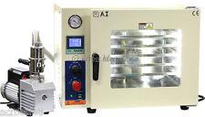 Ai 5-Sided St St Tubing Oil-Fill Gauge 1.9 CF Vacuum Oven w/ EasyVac 9 cfm Pump