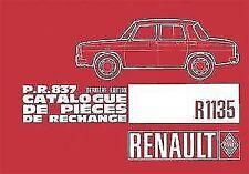 RENAULT 8 GORDINI R1135 CATALOGUE PR837 DE PIEZAS PIECES Ersatzteilkatalog PARTS