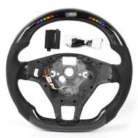 LED Performance Carbon Fiber Race Display Steering Wheel Preforated Leather Kit
