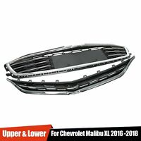Honeycomb Mesh Grill Front Bumper Upper&Lower Grille For 2016-2018 Chevy Malibu