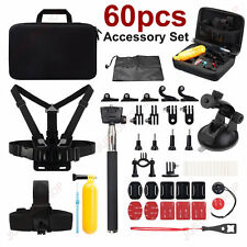 60 Pcs Accessories Kit For GoPro Hero SJCAM Head Chest Strap Selfie Pole Floaty