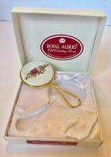 Royal Albert Old Country Roses Hand Mirror Gold Tone Porcelain Roses Vanity RARE