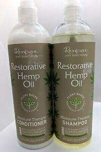 Renpure Restorative Hemp Oil Moisture Therapy Shampoo&Conditioner 16 oz/ea (2)