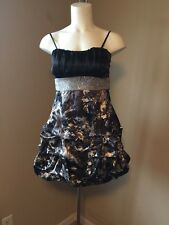 DEB Party/Prom Dress Black White Gray Sequined Waistline W/Tie Back ~ Jr Size 13
