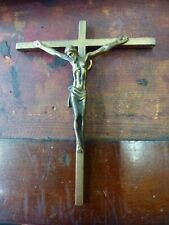 Hanging Old Bronze Crucifix Christ figure statue sculpture Deity wall Cross